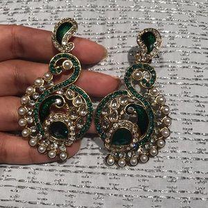 Kundan Stone chandelier earrings India Pakistani